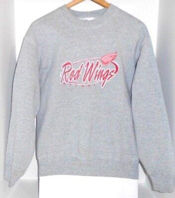 Detroit Red Wings NHL Hockey Embroidered Logo Gray Sweater Sweat Shirt Mens - M Hockey Logo Sweatshirt