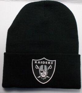 d184f24a7faa6 Oakland Raiders HEAT Applied Flat Logo on Beanie Knit Cap hat!