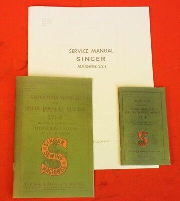 5 Pcs Singer Featherweight 221 Sewing Machine Dealer Adjusters Repair Manual Set