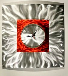 Metal Wall Clock Art ULTRA COOL Modern Silver Red Clock Signed Art by Jon Allen
