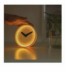 New Sealed IKEA Stolpa Yellow Desk Clock Silent Movment Touch Sensor 204.003.80