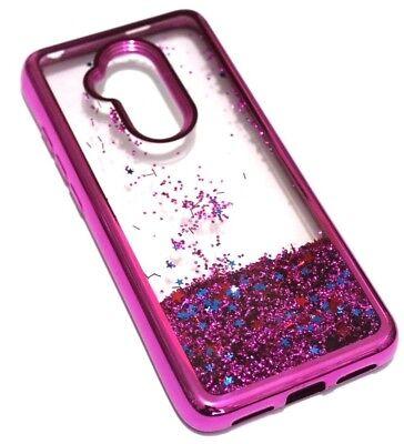 For Alcatel 7 Folio - Hot Pink Chrome Glitter Protector Liquid Skin Case Cover