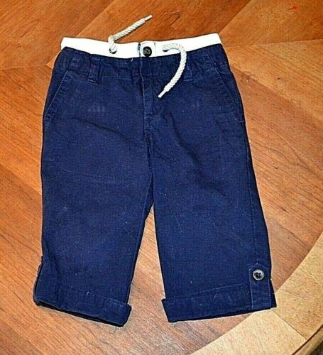 Janie & Jack blue twill pants w white waistband/rope drawstring 18-24 mos