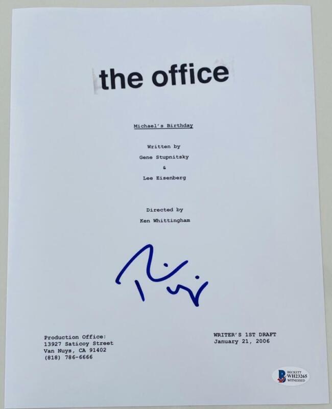 "RAINN WILSON SIGNED AUTOGRAPH ""THE OFFICE MICHAEL'S BIRTHDAY"" EP SCRIPT BECKETT"