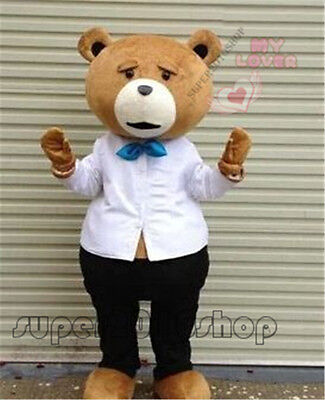 Teddy Bear of TED Mascot Costume Adult Size Halloween Cartoon Fancy Dress Outfit