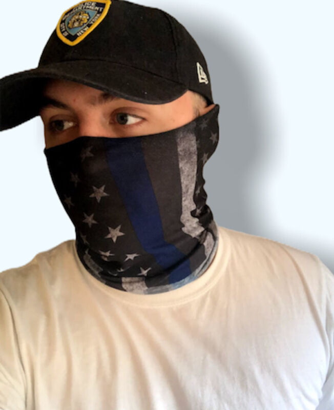 Thin Blue Line American Flag Neck Gaiter / Face Mask / Face Shield / Balaclava