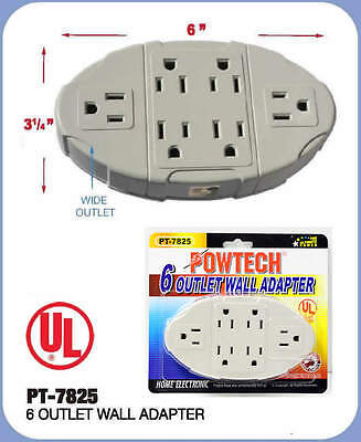 OVAL 6 OUTLET WALL ADAPTER ELECTRIC WALLMOUNT TAP POWER UL LISTED PT7825 POWTECH