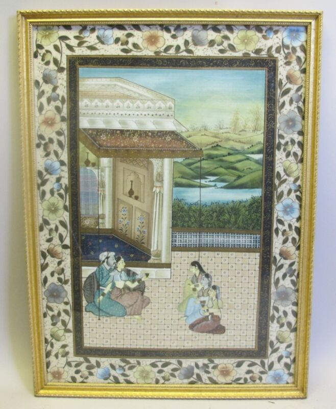 Large ANTIQUE INDIA Watercolor Painting  c. 1920   Asian