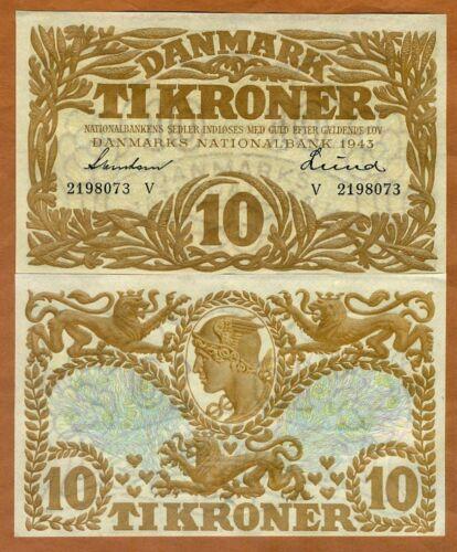 Denmark, 10 Kroner, 1943, P-31p, WWII, UNC