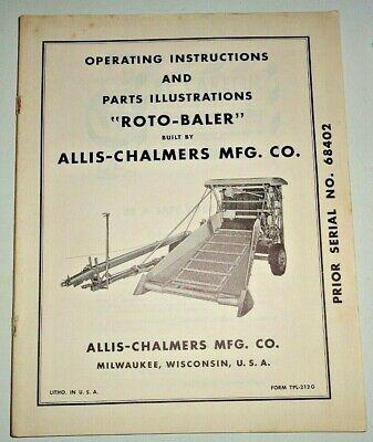 Allis Chalmers Roto-baler Operators Operating Parts Manual Ac Original