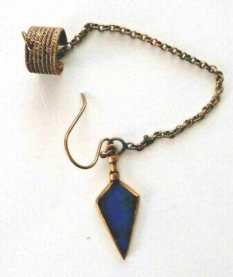 APT A Peace Treaty 10K Gold Ear Stud Cuff Dangle Earring Arrow Head Lapis Inlay
