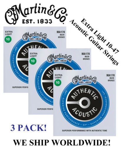 **3 SETS - MARTIN MA170 ACOUSTIC GUITAR STRINGS EXTRA LIGHT 80/20 (WAS M170)**