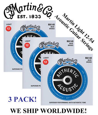6 SETS MARTIN M140 LIGHT GAUGE ACOUSTIC GUITAR STRINGS 80 20