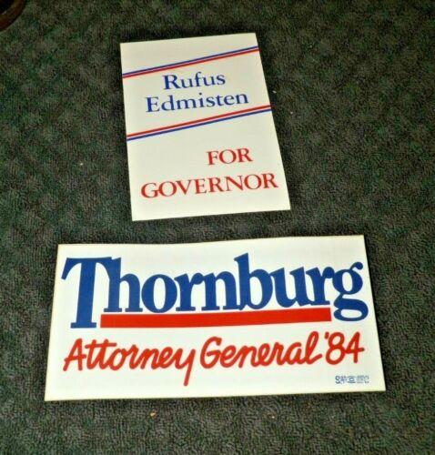 Vintage Postcard --Rufus Edmisten for Governor in NC-Thornburg Bumper Sticker
