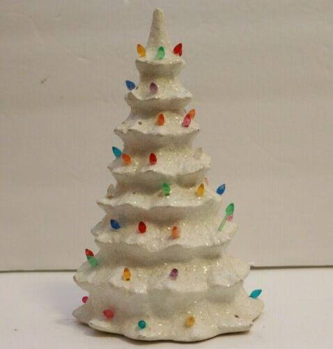 "Vintage Ceramic Christmas Tree Top Colorful White 8.5"""