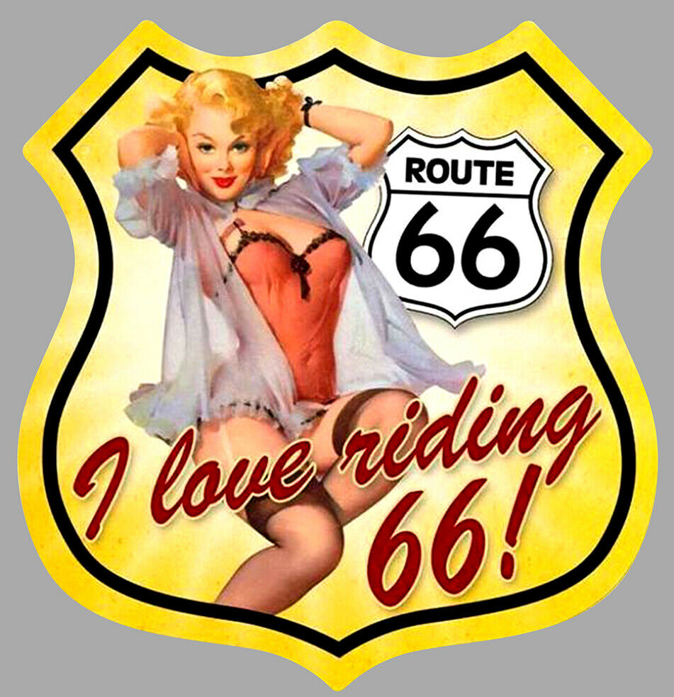 PINUP ROUTE ROAD 66 USA AUTOCOLLANT STICKER PIN UP CAMION MOTO TRUCK BIKER MOPED