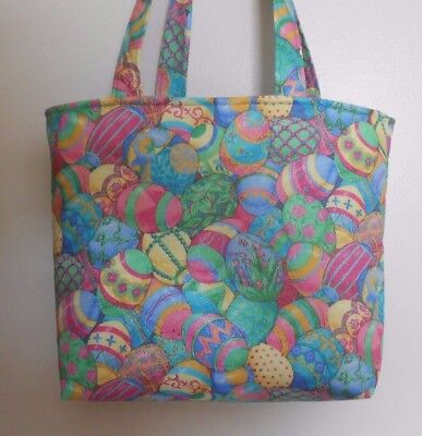 Handmade Easter Decorated Pastel Colored Eggs Purse Tote Bag