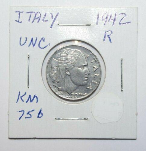 1942, 20 Centesimi Italy a High Grade Value Coin
