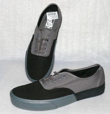 Vans Authentic Herren Schuhe Freizeit Boots Gr 42 US9 Canvas Skater Schwarz Grau (Vans Authentic Skate Schuhe Schwarz)