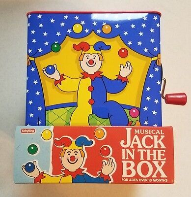 Tin Jack In The Box Schylling Jester Musical Classic Toys - Jack In The Box Jester