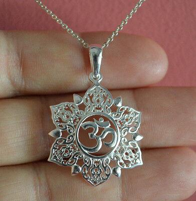 925 Sterling Silver Big Lotus Flower Ohm Charm Necklace Yoga Om Namaste Necklace