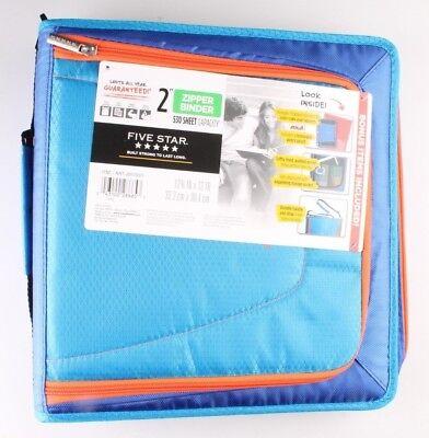 New Five Star Zipper Binder Tech Pocket 2 Blue Orange 12-34 X 12 Nwt