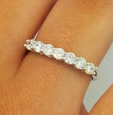 14k White Gold Half Eternity .50 Ct Round Diamond Ring Wedding Band Stackable (Gold Half Round Band)