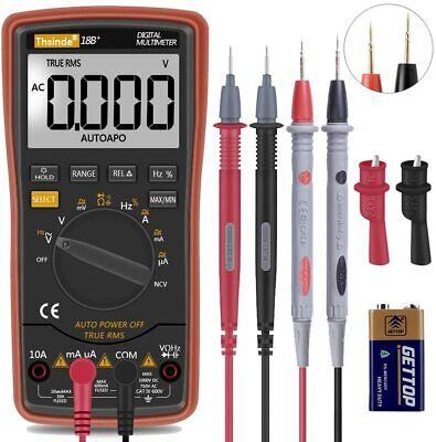 Digital Multimeter Fluke Meter Amp Ohm Voltmeter Multi Volt Tester Lead Ac Dc