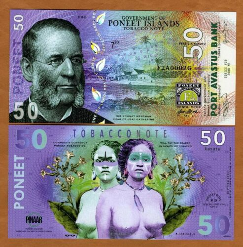 Poneet Islands, 50 Kasutu, Tobacco Note, 2020 POLYMER > Tobacco Twins, Type 3