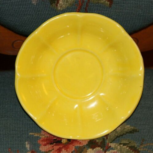 Vintage 50s Marked McCoy Heavy Yellow Flower Petal Bowl Mid Century 8 in