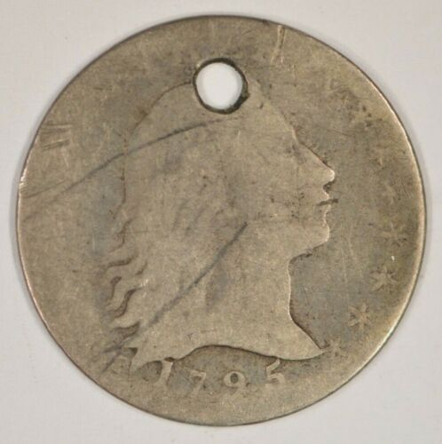 1795 Flowing Hair Silver Half Dime Holed, Filler Grade H10c