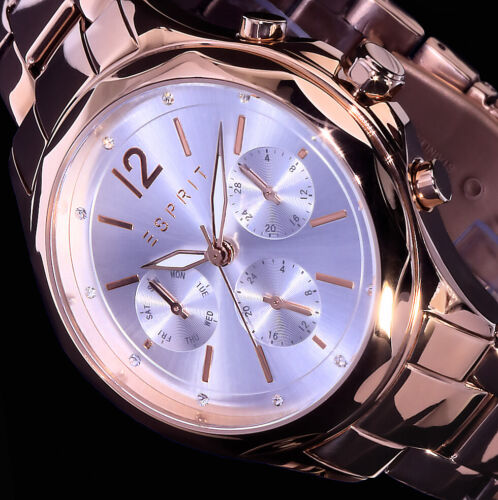 Esprit Multifunktion Damen Armband Uhr Silber Rosegold Farben Strass