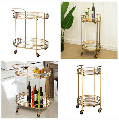 Glitzhome Mirror Glass Wine Food Bar Serving Carts Kitchen Dining Room Furniture Dining Room Kitchen Serving Cart