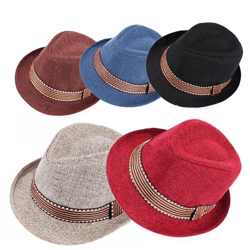Kids Boys Girls Unisex Fedora Hat Contrast Trim Cool Jazz Hat Felt Trilby Cap US