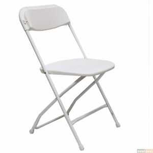 10 Pack White Plastic Metal Folding Chairs Stackable Party
