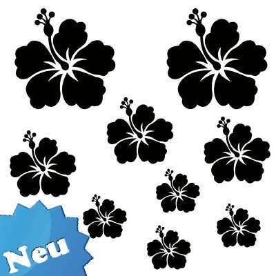 Hibiskus XXL 9 x Wandtattoo Auto Aufkleber Blumen S ()