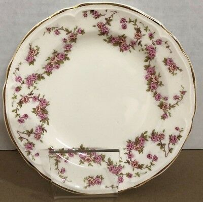 """EDWIN KNOWLES China Co Semi-Vitreous PINK ROSES Gold Trim Bread Plate USA-5 3/4"""""""