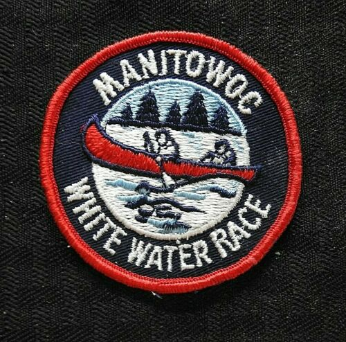 """c.1970 """"MANITOWOC WHITE WATER RACE"""" CANOE RACES WI WISCONSIN CHEESECLOTH PATCH"""