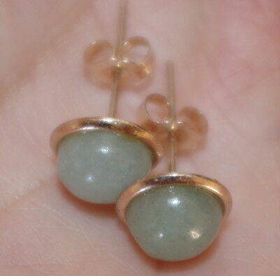 VINTAGE GENUINE 14K GF QUALITY  JADE JADEITE ROUND DOME 10MM STUDS EARRINGS