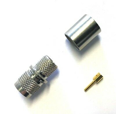 5 Pk Mini-UHF Male Plug Crimp RF Coaxial Coax Connector for RG8 LMR400 US Stock Mini Uhf Coaxial