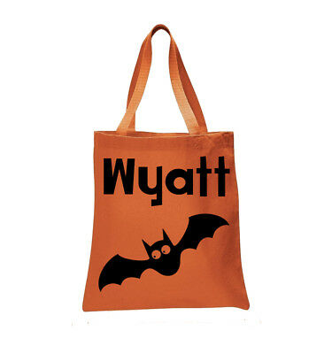 Personalized Bat Halloween Trick or Treat Bag Tote
