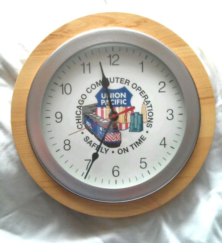 "NEW Union Pacific Metra Chicago Commuter Operations Clock ""Safely On Time""  OOAK"