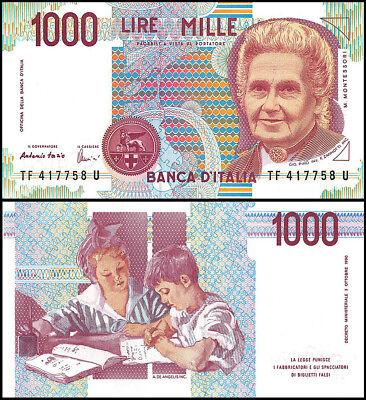 Italy 1,000 (1000) Lire, 1990, P-114a, M. Montessori, UNC