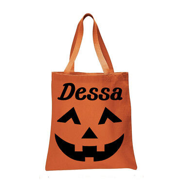 Personalized Jack-o'-Lantern Pumpkin Halloween Trick or Treat Bag