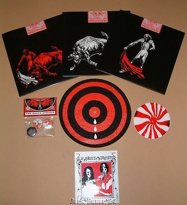 "White Stripes Conquest Set of 3 7"" Singles Slip Mat Pin Set Stickers Third Man"