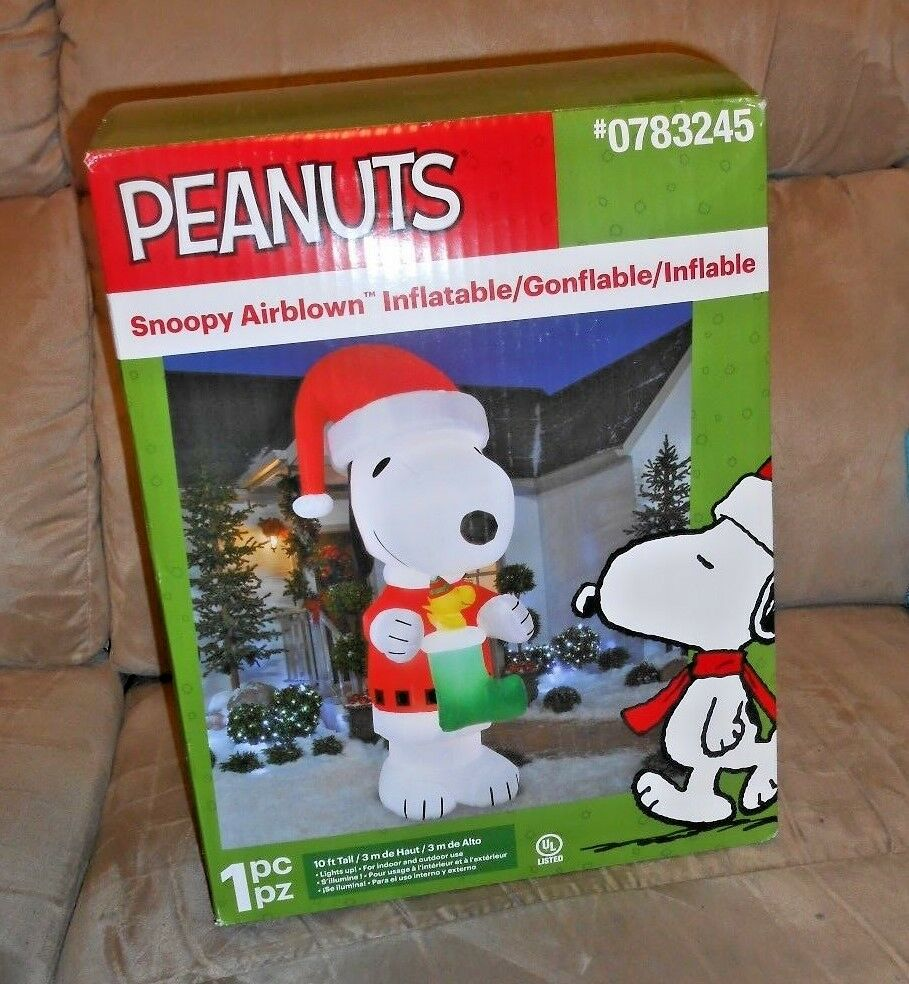 Peanuts Snoopy Santa W/ Woodstock Christmas Airblown Inflatable Yard Decor