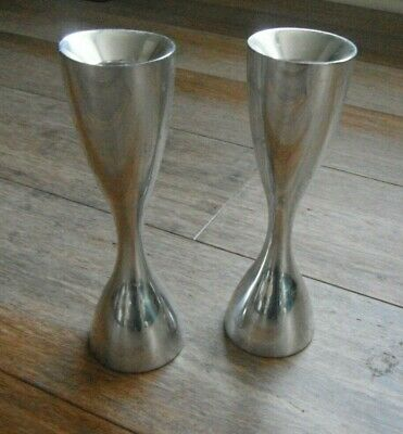"2  Modernist Nambe STUDIO signed KARIM RASHID Alloy Metal 5.5"" Candle Holders"