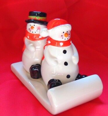 Mr & Mrs Snowman Salt & Pepper Shakers Vintage Christmas Collectible IOP - Snowman Salt And Pepper Shakers