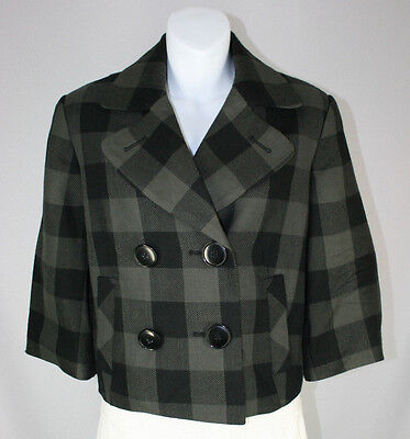 Larry Levine Charcoal Gray Plaid 3/4 Sleeve Cropped Blazer Jacket - Size 4 Charcoal Cropped Sleeve Jacket