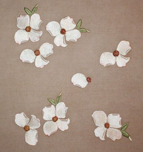 Vintage Floating Dogwood Tree Blossoms Crewel Hand Embroidery Completed Finished